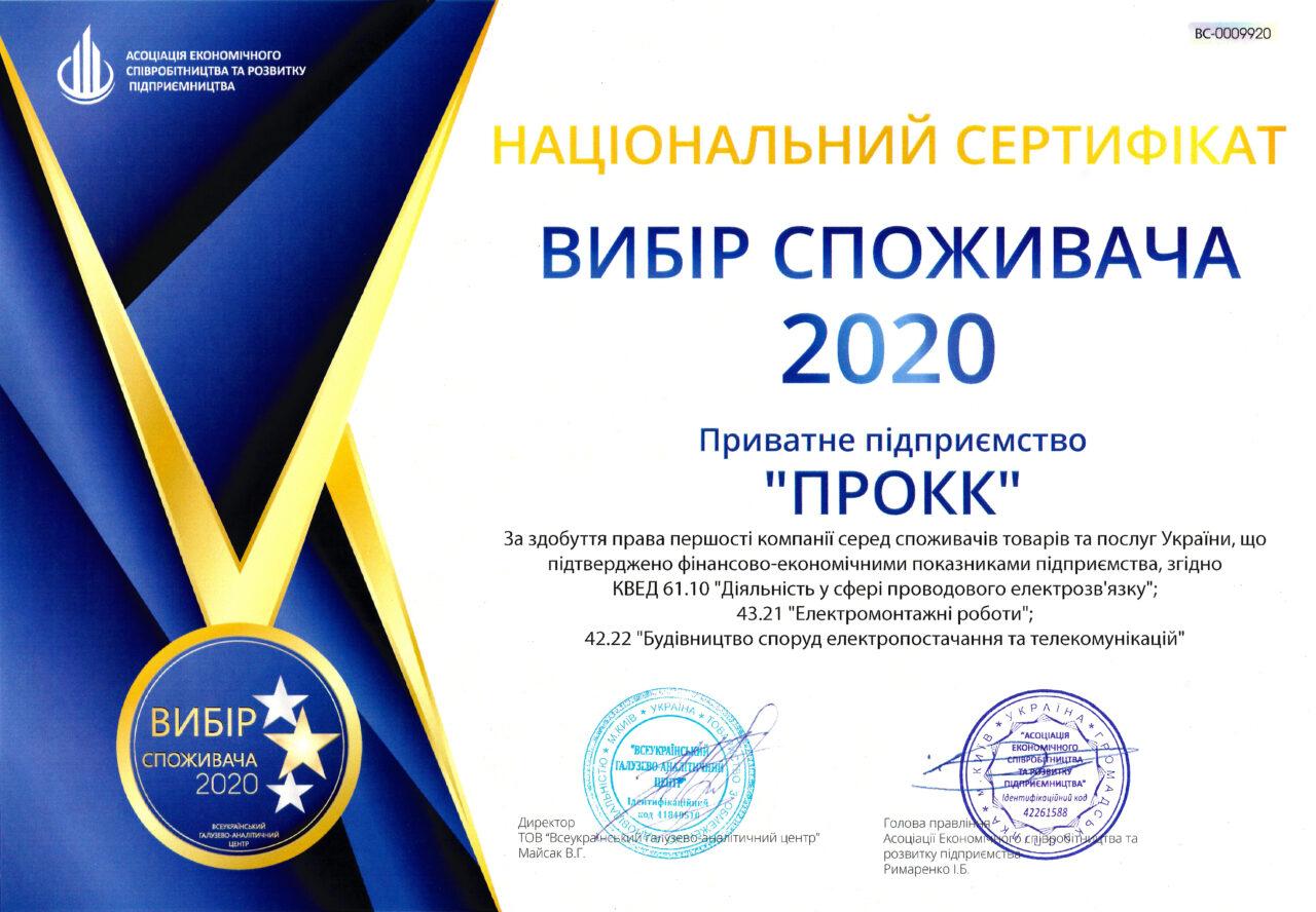 ПП ПРОКК – вибір споживача 2020